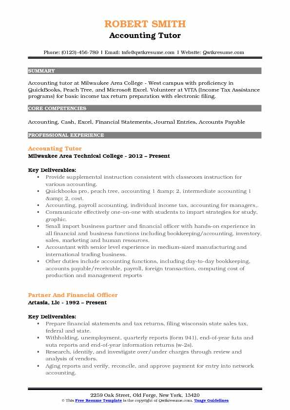 Accounting Tutor Resume Template