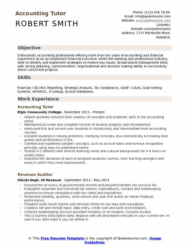 accounting tutor resume samples qwikresume