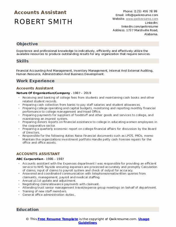 Accounts Assistant Resume Template