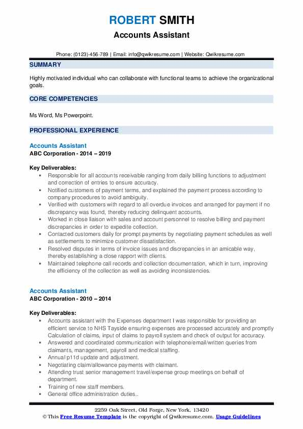Accounts Assistant Resume Format