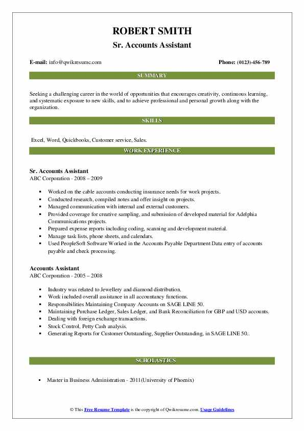 Sr. Accounts Assistant Resume Template