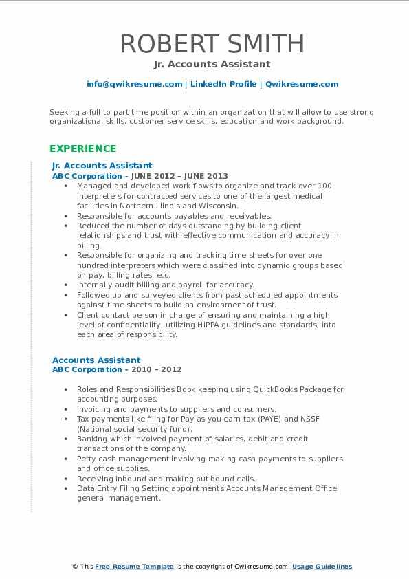 Jr. Accounts Assistant Resume Format