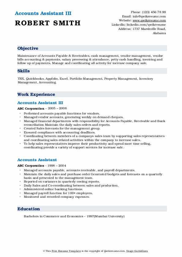 Accounts Assistant III Resume Sample