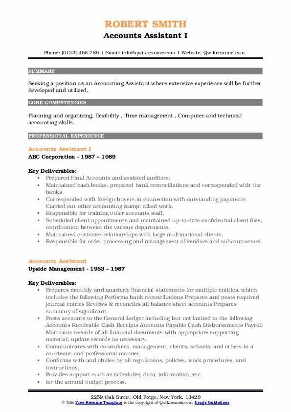 Accounts Assistant I Resume Model