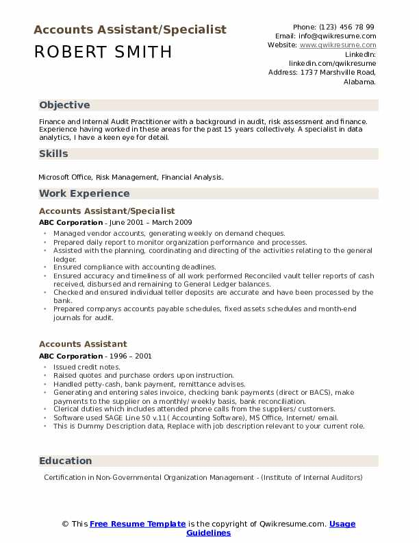 Accounts Assistant/Specialist Resume Example