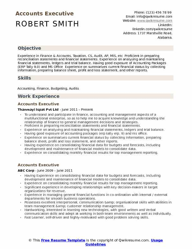 Accounts Executive Resume Format