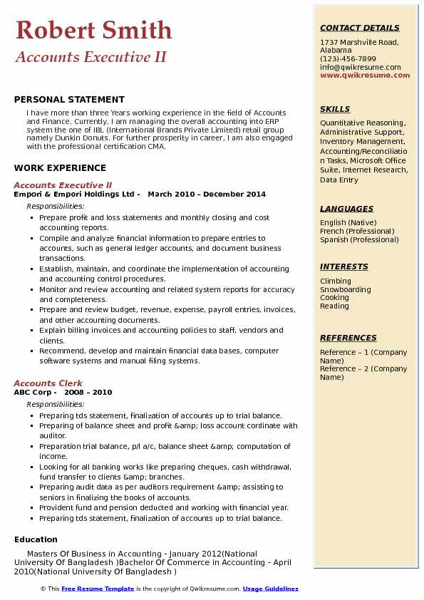 Accounts Executive II Resume Example