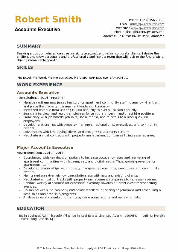 Accounts Executive Resume Samples | QwikResume