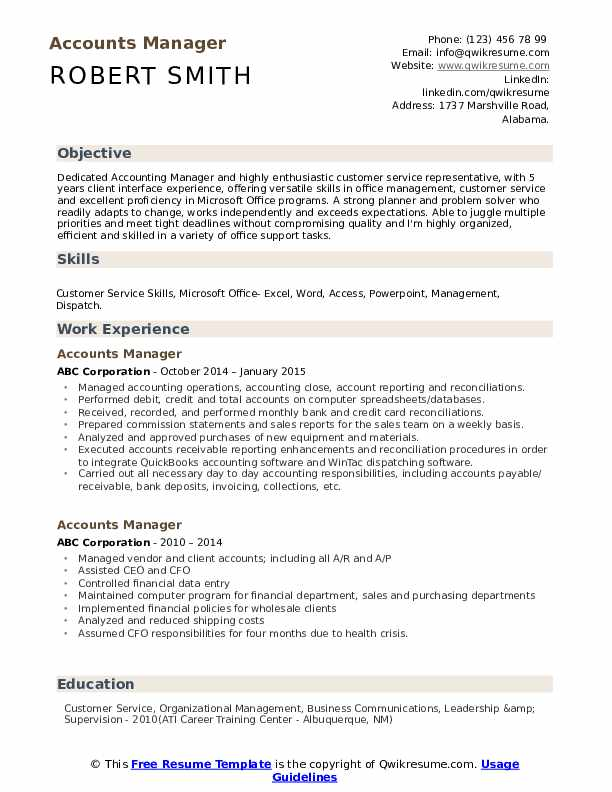 Accounts Manager Resume Format