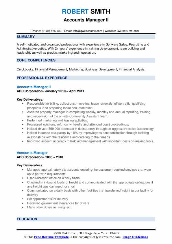 Accounts Manager II Resume Format
