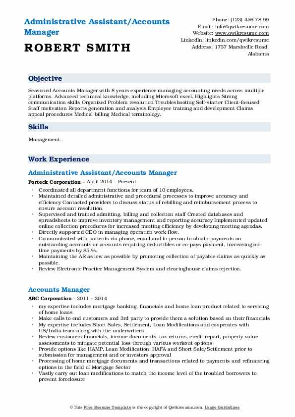 Administrative Assistant/Accounts Manager Resume Model