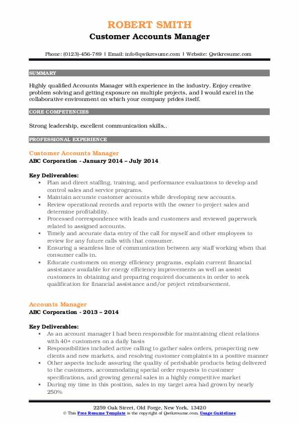 Customer Accounts Manager Resume Template