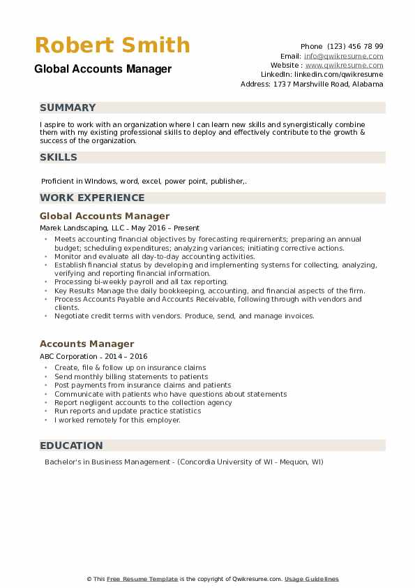 accounts manager resume samples