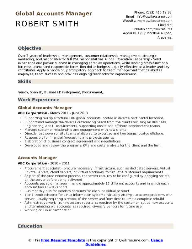 Global Accounts Manager Resume Template