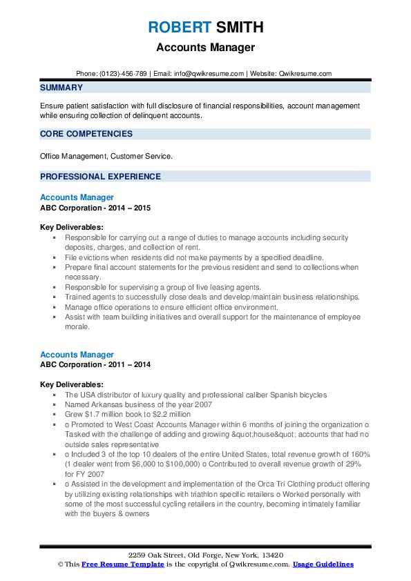 Accounts Manager Resume example