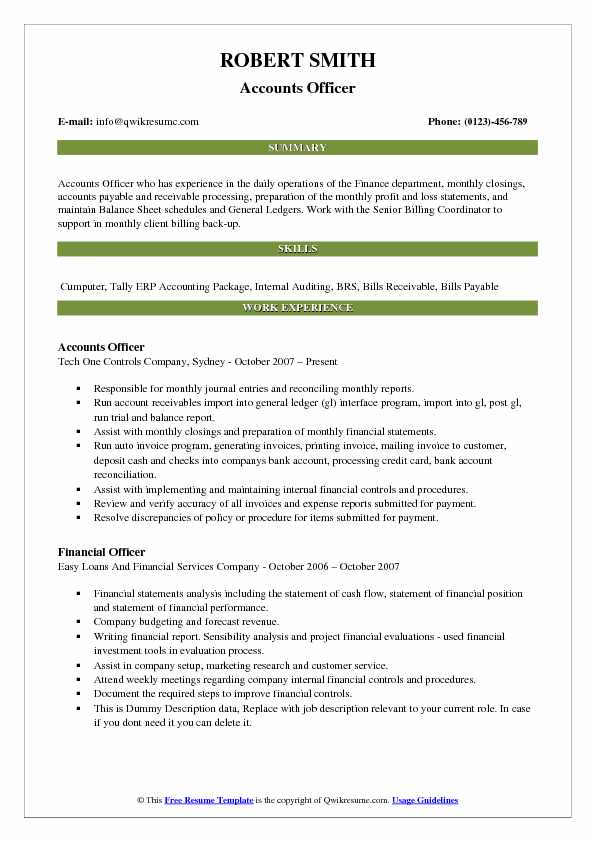 Accounts Officer Resume Samples | QwikResume