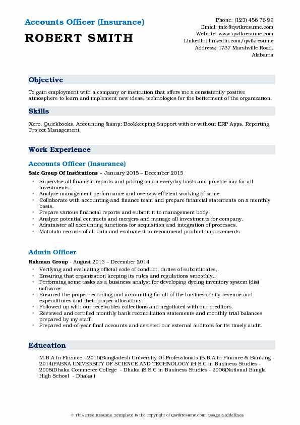 Accounts Officer (Insurance) Resume Template