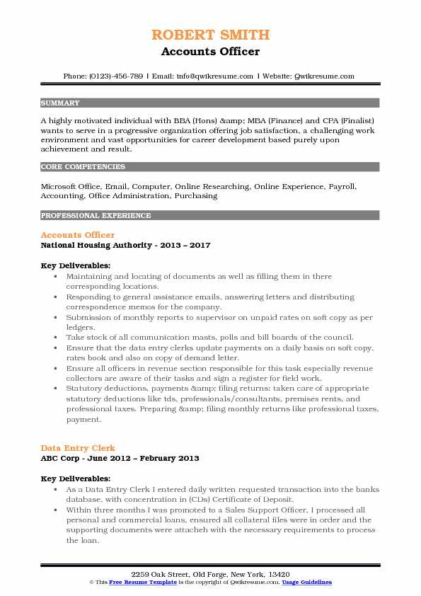 Accounts Officer Resume Format