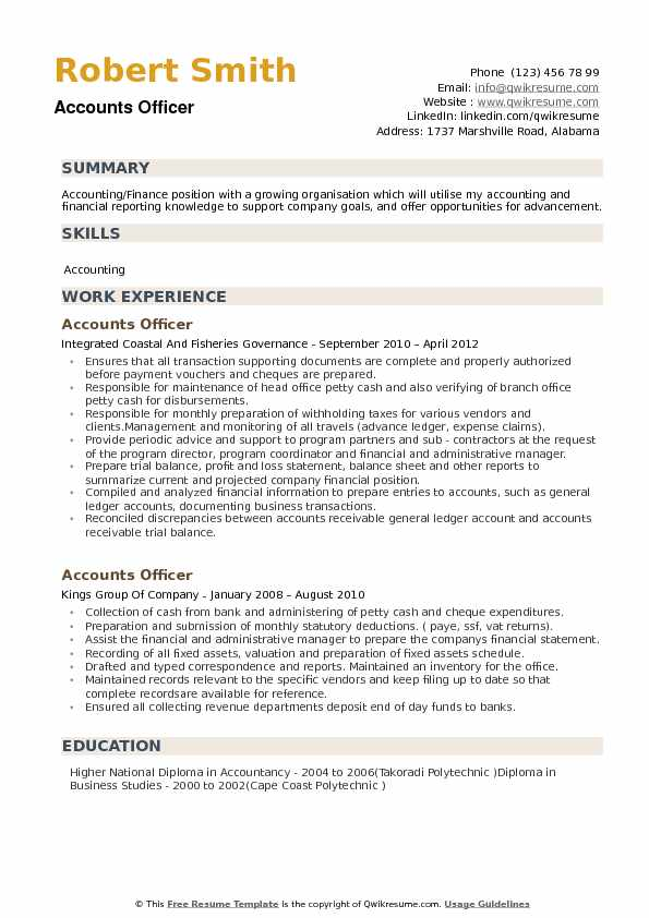 Accounts Officer Resume example