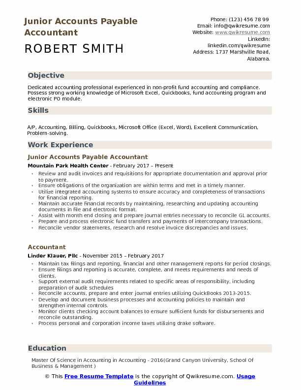 Junior Accounts Payable Accountant Resume Sample
