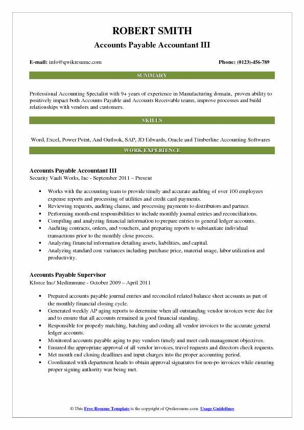 Accounts Payable Accountant III Resume Model