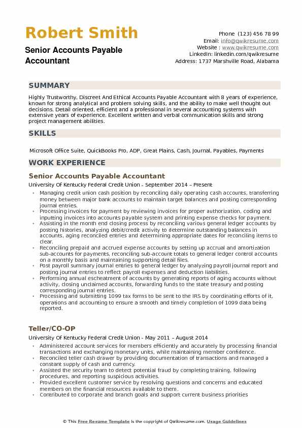 Senior Accounts Payable Accountant Resume Model