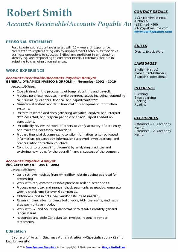 Accounts Receivable/Accounts Payable Analyst Resume Sample