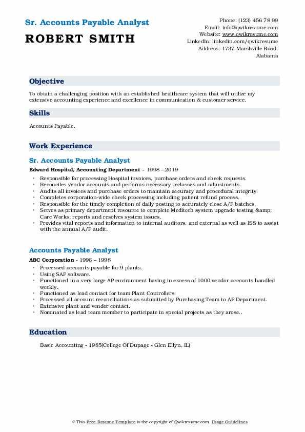 Sr. Accounts Payable Analyst Resume Format