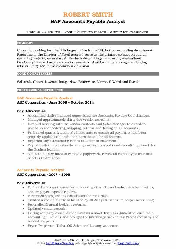 SAP Accounts Payable Analyst Resume Template