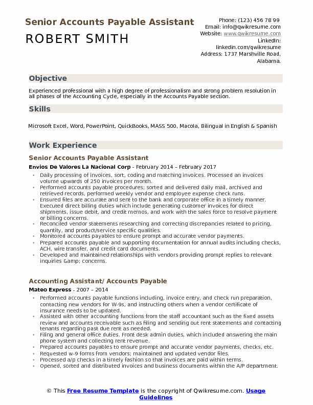 Senior Accounts Payable Assistant Resume Model