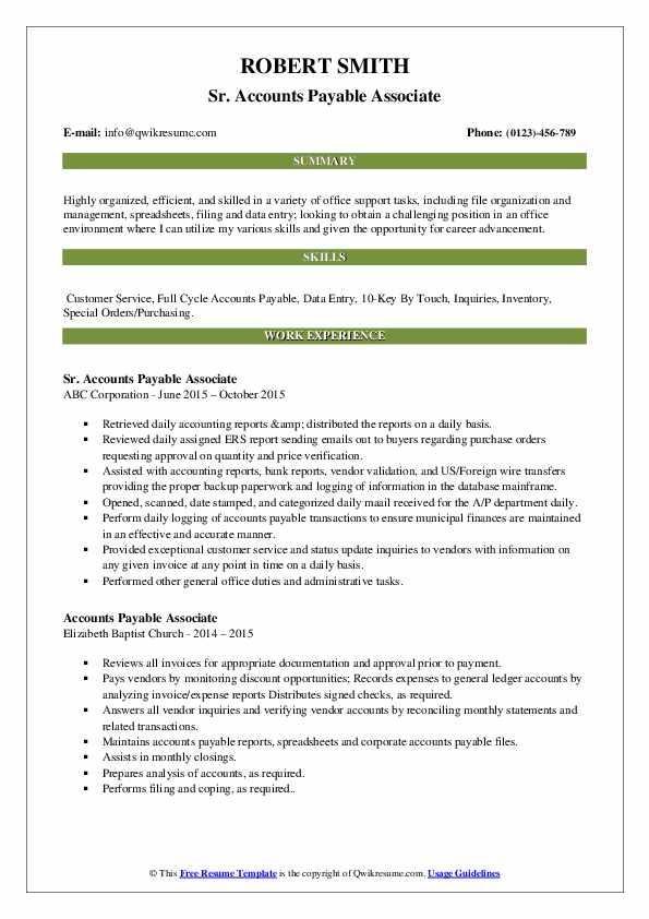 Sr. Accounts Payable Associate Resume Sample