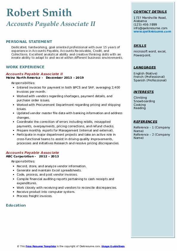 Accounts Payable Associate II Resume Template