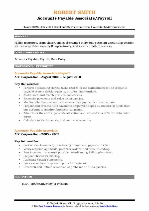 Accounts Payable Associate/Payroll Resume Example