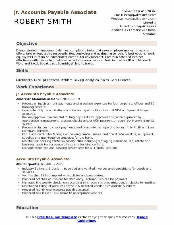 Jr. Accounts Payable Associate Resume Format