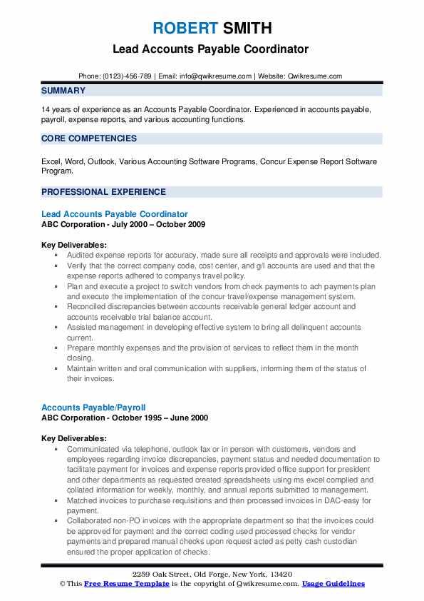 Lead Accounts Payable Coordinator  Resume Model