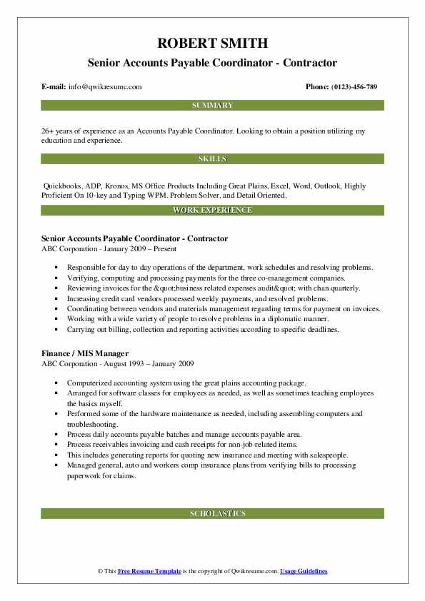 Senior Accounts Payable Coordinator - Contractor Resume Model