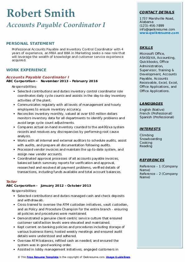 Accounts Payable Coordinator I Resume Model