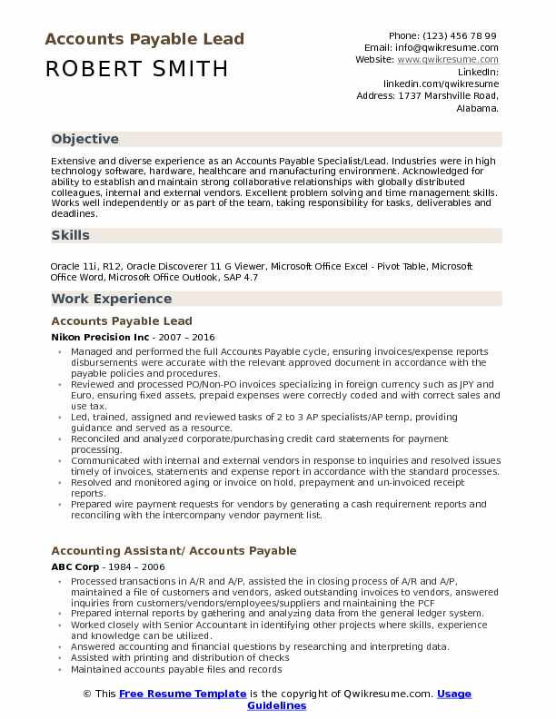 Accounts Payable Lead Resume Model