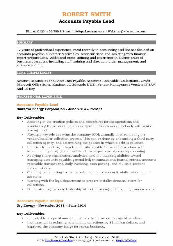 Accounts Payable Lead Resume Format