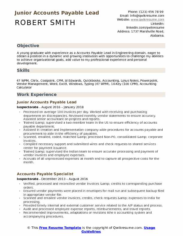 Junior Accounts Payable Lead  Resume Sample