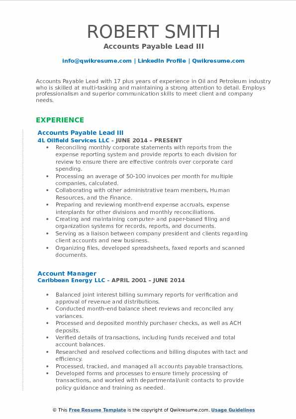Accounts Payable Lead III Resume Template