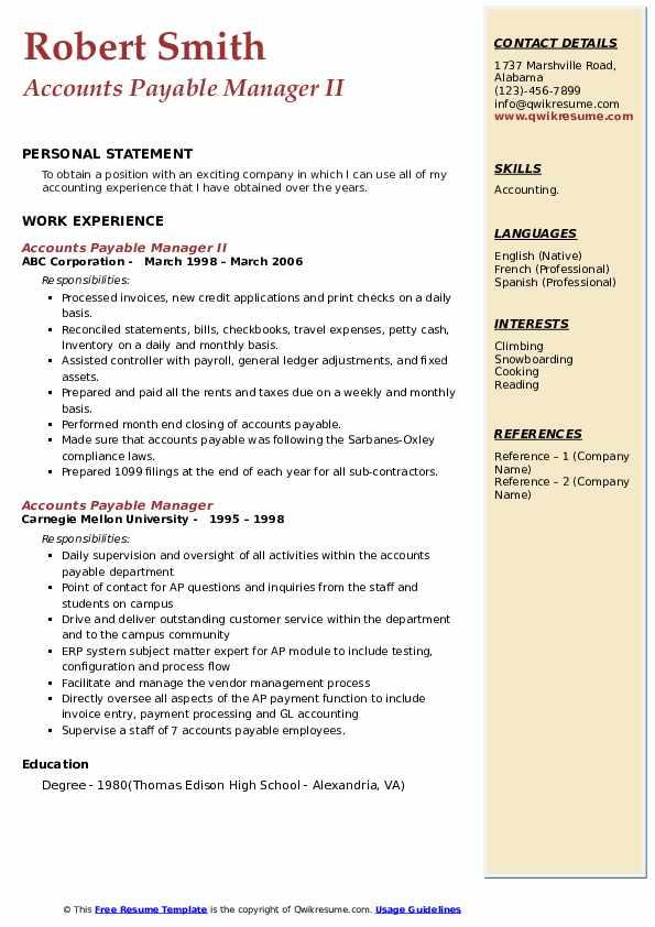 Accounts Payable Manager II Resume Sample
