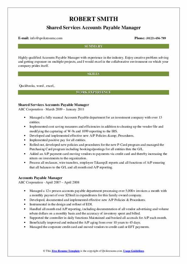 Shared Services Accounts Payable Manager Resume Sample