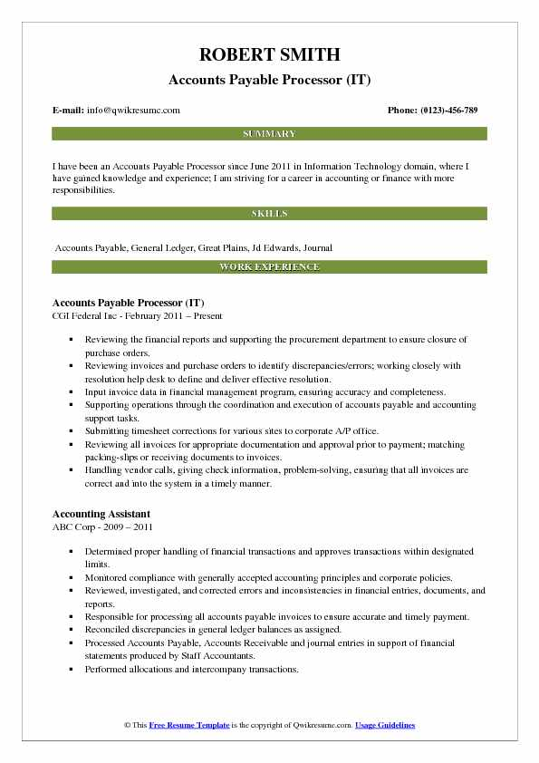 Accounts Payable Processor (IT) Resume Sample