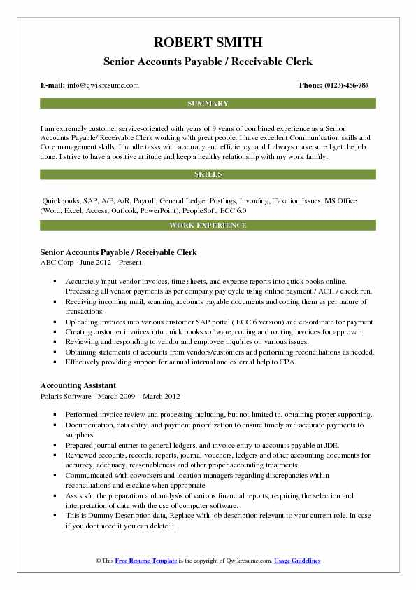 Senior Accounts Payable / Receivable Clerk Resume Example
