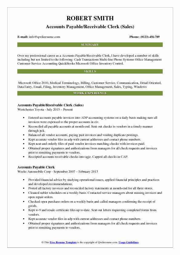 Accounts Payable/Receivable Clerk (Sales) Resume Model