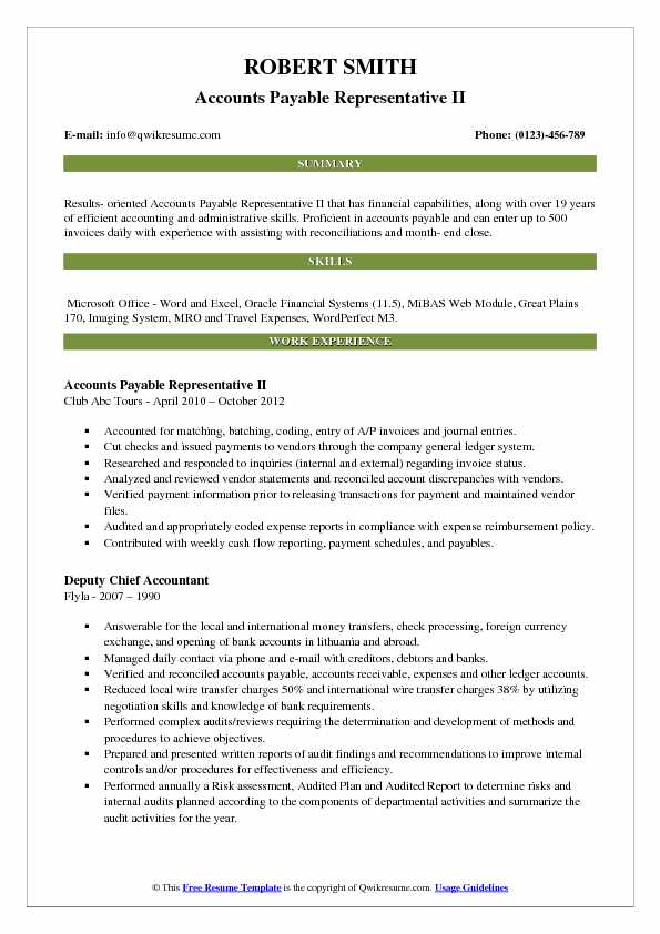 Accounts Payable Representative II Resume Template
