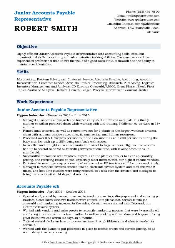 Junior Accounts Payable Representative  Resume Template