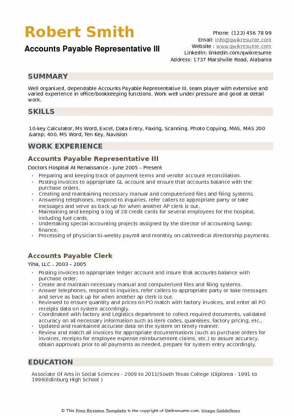 Accounts Payable Representative III Resume Template