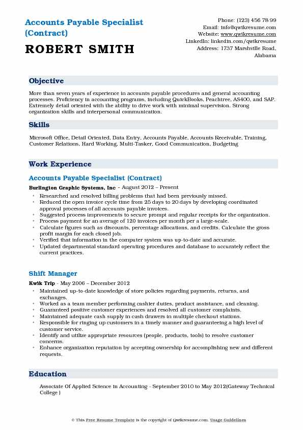 Accounts Payable Specialist Resume Samples Qwikresume